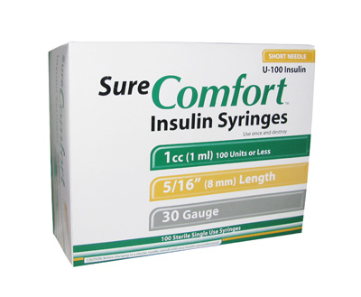 Sure Comfort 30 Gauge 1 cc 5/16 in Insulin Syringes - 100 ea 22-6010