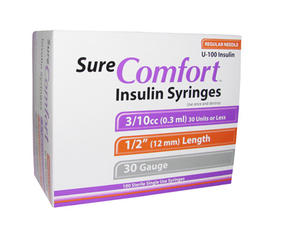 Sure Comfort 30 Gauge 0.3 cc 1/2 in Insulin Syringes - 100 ea 22-6203