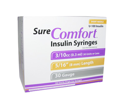 Sure Comfort 30 Gauge 0.3 cc 5/16 in Insulin Syringes - 100 ea 24-6003