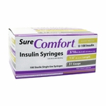 Sure Comfort Insulin Syringes - 31 Gauge 0.3 cc 1/4 in - 100 ea - 22-6403