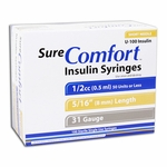 Sure Comfort Insulin Syringes - 31 Gauge 0.5 cc 5/16 in - 100 ea - Model 22-6505