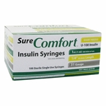 Sure Comfort Insulin Syringes - 31 Gauge 1 cc 1/4 in - 100 ea - 22-6410