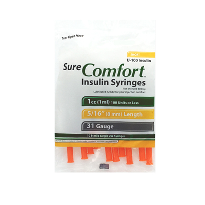Sure Comfort Insulin Syringes - 31 G, 1 cc, 5/16 in - 10 ea - 22-6510