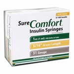 Sure Comfort Insulin Syringes: 31-Gauge, 1 cc, 5/16 in - 100 ea. - Model 22-6510