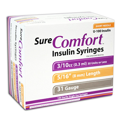 Sure Comfort Insulin Syringes - 31 G, 0.3 cc, 5/16 in - 100 ea - Model 22-6503