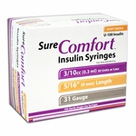Sure Comfort Insulin Syringes - 31 Gauge 0.3 cc 5/16 in - 100 ea - Model 22-6503