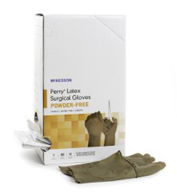 Surgical Glove McKesson Perry Sterile Brown Powder Free Latex Hand Specific Smooth Not Chemo Approved Size 7.5