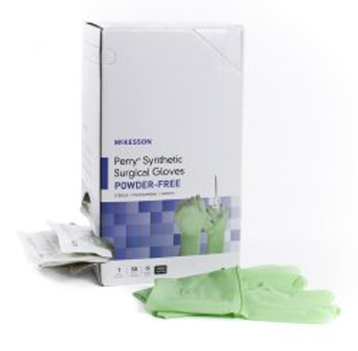 Surgical Glove McKesson Perry Sterile Green Powder Free Polyisoprene Hand Specific Smooth Chemo Tested Size 7.5