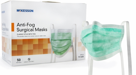 Surgical Mask McKesson Pleated Ties One Size Fits Most Green