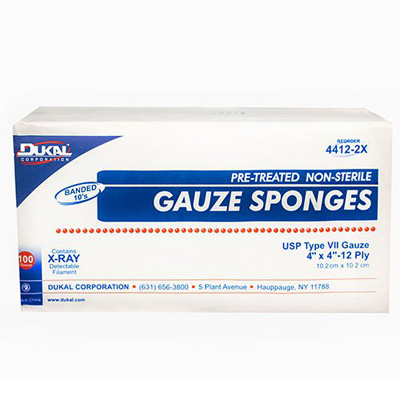 Surgical Sponge X-Ray Detectable 100% Woven Cotton 4 X 4 Inch 12-Ply NonSterile