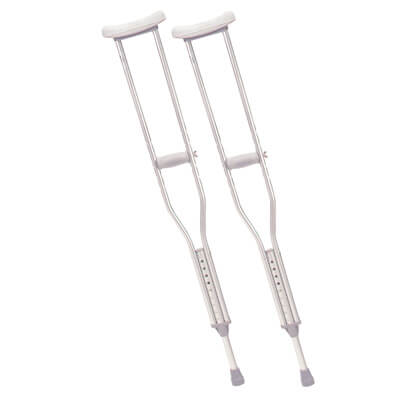 Drive Medical Tall Adult Walking Crutches with Underarm Pad and Handgrip Model rtl10402