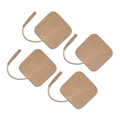 TENS Electrodes 1.5 x 1.5 in Square, Tan Mesh Backed - 4 Pads E1F1515TC2