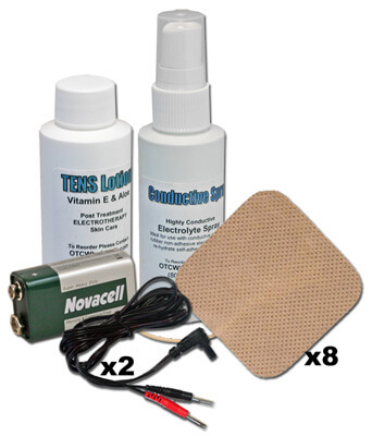 TENS Unit Accessories Kit, Electrode Pads (x8), Wires (x2), Electrolyte Spray, Lotion & 9V Battery