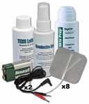 TENS Unit Accessories Kit, Electrode Pads (x8), Wires (x2), Spray, Lotion, Skin Prep & 9V Battery