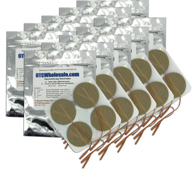 TENS Unit Electrode Pads, Tan Mesh Backed, 2 in Round - 40 Pads