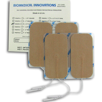 BioTENS (TENS STPWT 4-3) TENS Unit Premium Silver Electrodes 1.75 x 3.75 in Rectangle, Tan Mesh Backed - 4 Pads