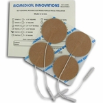 BioTENS (Formerly TENS STPWT 4-5) TENS Unit Premium Silver Electrodes 2 in Round, Tan Mesh Backed - 4 Pads