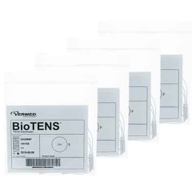 BioTENS (TENS STPWT 4-6) TENS Unit Premium Silver Electrodes 3 in Round Tan Mesh Backed 16 Pads