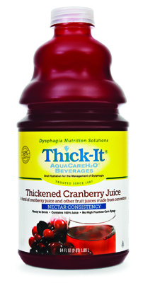 Thickened Beverage Thick-It AquaCareH2O 64 oz. Bottle Cranberry Ready to Use Nectar