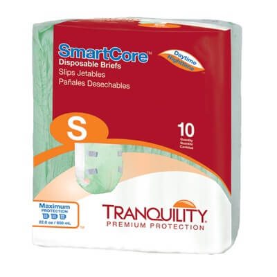 Tranquility SmartCore Disposable Briefs - Small  - 2311 100 /cs (10 bags of 10)