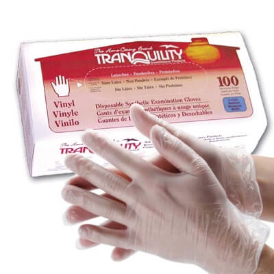 Exam Glove McKesson NonSterile Clear Powder Free Vinyl Ambidextrous Smooth Not Chemo Approved Medium