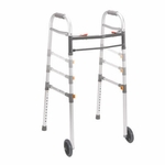 Drive Medical Two Button Folding Universal Walker with 5 inch Wheels Model 10253-1