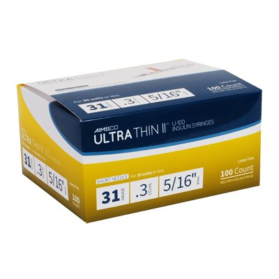 UltraThin II Syringe 31 Gauge .3 cc 5/16 in 100 count by Aimsco