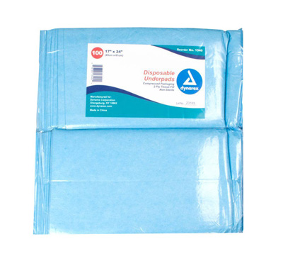 Dynarex Underpad 17 X 24 Inch Disposable Fluff Light Absorbency - 1340 - Case of 300