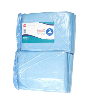 Dynarex Underpad 23 X 24 Inch Disposable Fluff Light Absorbency - Case of 200