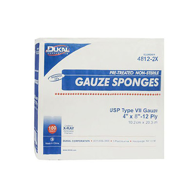 Dukal USP Type VII X-Ray Detectable Gauze Sponge Woven Cotton 12-Ply 8 X 4 Inch Rectangle NonSterile - Case of 2000