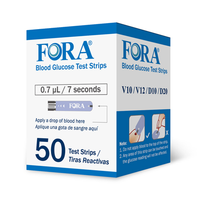 V10/D10/D20 Blood Glucose Test Strips 50ct