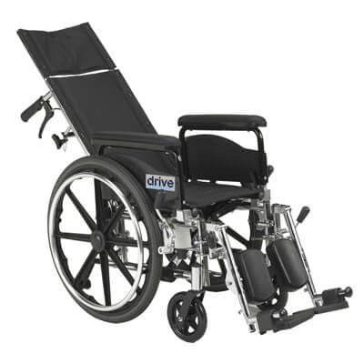 Drive Medical Viper Plus GT 18 inch Reclining Wheelchair with Full Arms Model pla418rbdfa