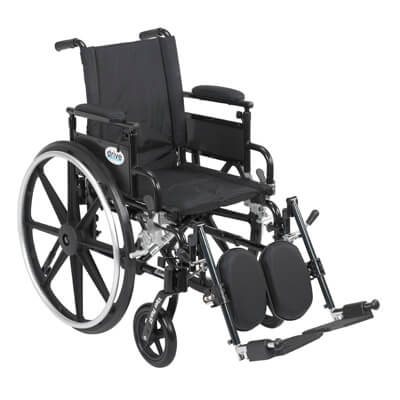 Drive Medical Viper Plus GT Wheelchair with Flip Back Removable Adjustable Desk Arm and Elevating Leg Rest pla420fbdaarad-elr