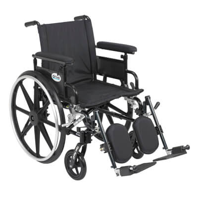 Drive Medical Viper Plus GT Wheelchair with Flip Back Removable Adjustable Full Arm and Elevating Leg Rest Model pla418fbfaarad-elr