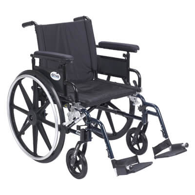 Drive Medical Viper Plus GT Wheelchair with Flip Back Removable Adjustable Full Arm and Swing Away Footrest Model pla420fbfaarad-sf