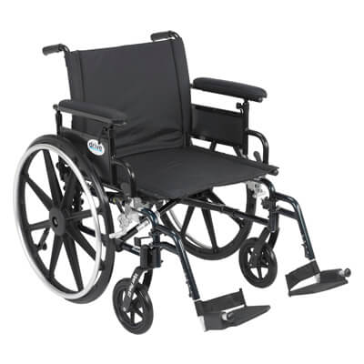 Drive Medical Viper Plus GT Wheelchair with Flip Back Removable Adjustable Full Arm and Swing Away Footrest Model pla422fbfaar-sf