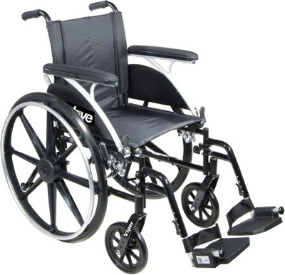 Drive Medical Viper Wheelchair with Flip Back Removable Desk Arms and Elevating Leg Rest l414dda-elr