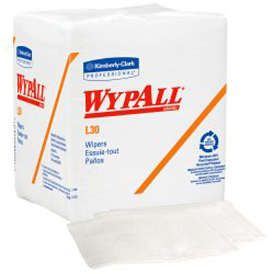 WypAll* L30 Task Wipe Light Duty White NonSterile Double Re-Creped 12 X 12-1/2 Inch Disposable