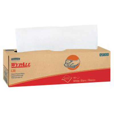 WypAll L30 Task Wipe Light Duty White NonSterile Double Re-Creped 9-4/5 X 16-2/5 Inch Disposable