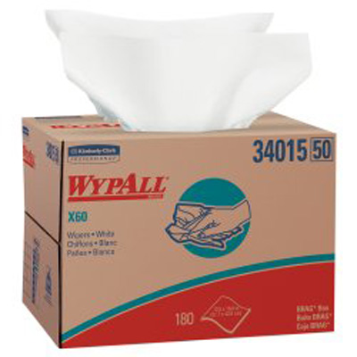 WypAll* X60 Task Wipe Light Duty White NonSterile Cellulose / Polypropylene 12-1/2 X 16-4/5 Inch Reusable