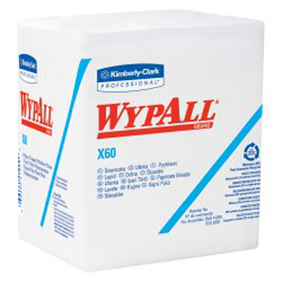 WypAll* X60 Task Wipe Light Duty White NonSterile Cellulose / Polypropylene 12 X 12-1/2 Inch Reusable