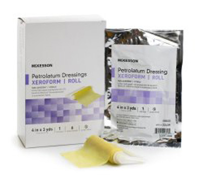 Xeroform Petrolatum Dressing McKesson 4 Inch X 3 Yard Gauze Bismuth Tribromophenate Sterile