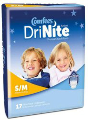 Comfees DriNite Youth Absorbent Underwear Juniors Pull On Small / Medium Disposable Heavy Absorbency - Case of 68