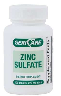 Zinc Sulfate Supplement Geri-Care 220 mg Strength Tablet 100 per Bottle