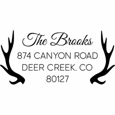 Deer Antler Return Address Stamp - The Brooks