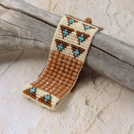 Southwestern Bead with Leather Bracelet - Brown