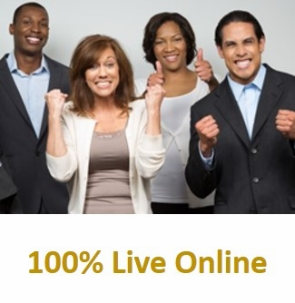 PMP(R) Certification Training<br>with Exam Prep, 100% Live Online<br> Using Your Computer.  Click on the<br> picture defining the class, then click on the down arrow for dates