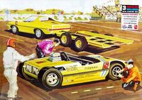 """AMT """"Piranha Drag Team"""" with Tow Car, Rear Engine Exhibition Funny Car and Trailer"""