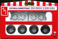 "AMT ""Wild Wheels 'N Wide Ovals"" 5 Spoke Mags and Firestone Wide Oval White Lettered Tires Parts Pack"
