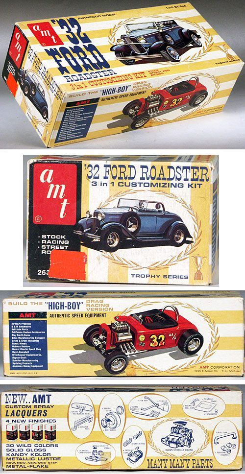 Amt 1932 Ford Sports Roadster With Side Mount Spares 3 In 1 Stock